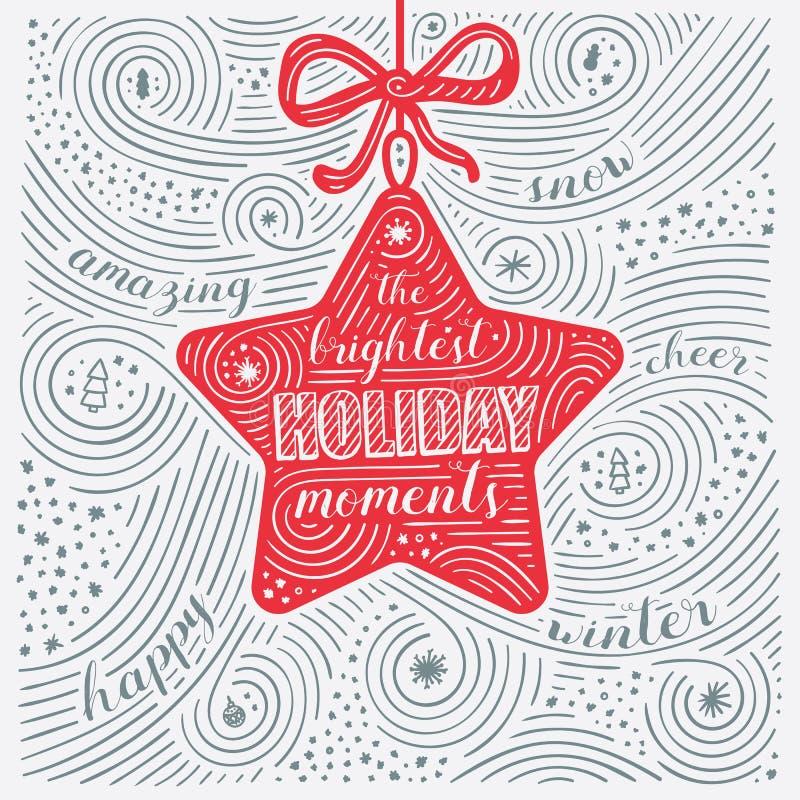 Vinterkort Bokstäver - de ljusaste ferieögonblicken Nytt år/juldesign Handskriven virvelmodell royaltyfri illustrationer