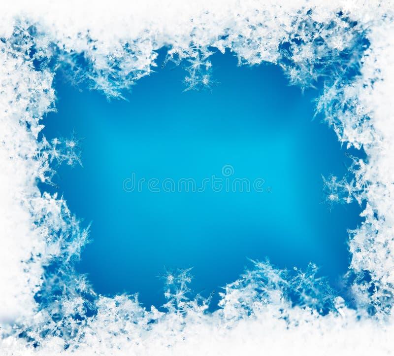 Vinterkort, snöflingor på snö fotografering för bildbyråer