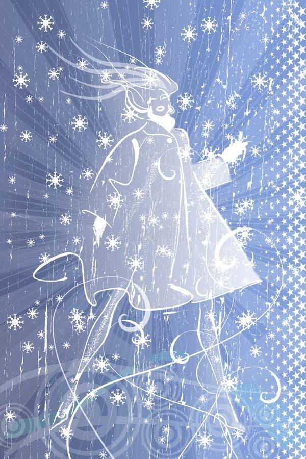 vinterkvinna royaltyfri illustrationer