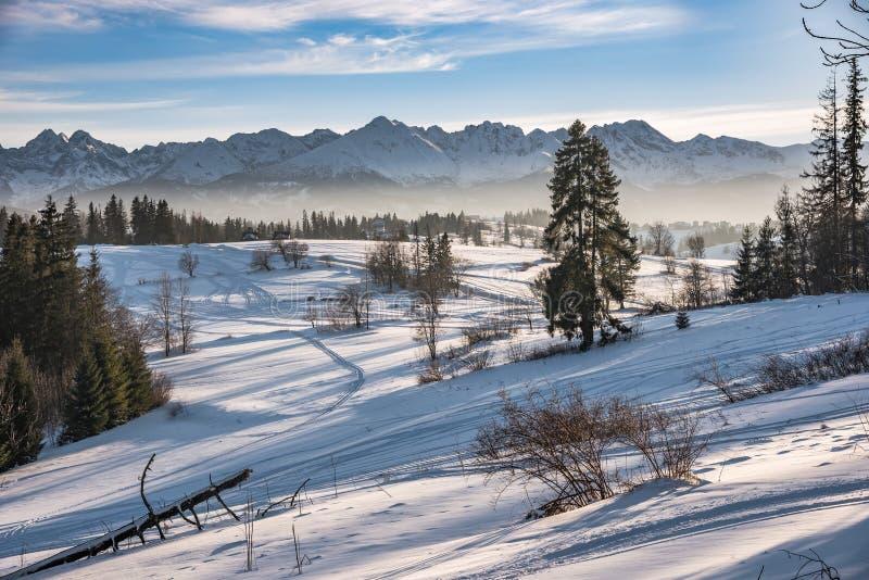 Vinterlandskap av höga Tatra berg fotografering för bildbyråer