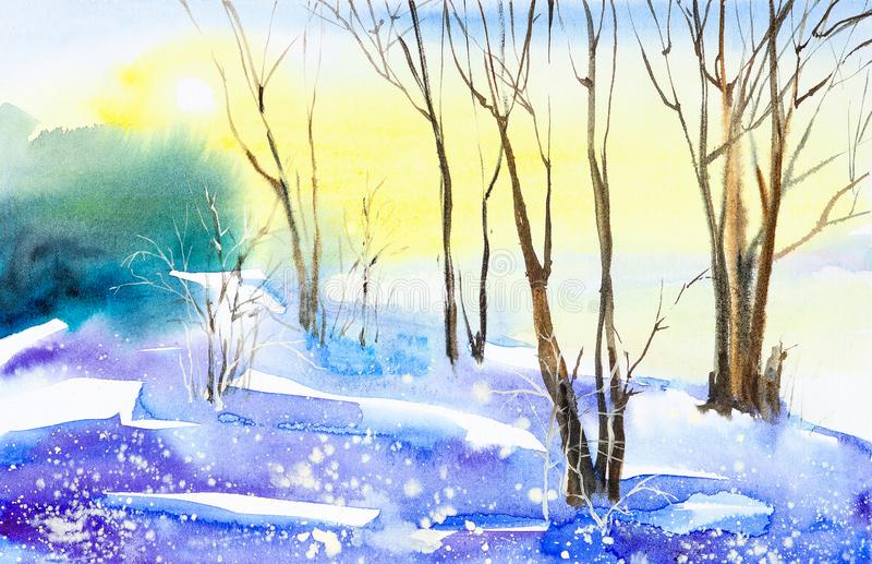 Vinterlandskap av skogen och det sn?ig f?ltet Hand dragen vattenf?rgillustration vektor illustrationer
