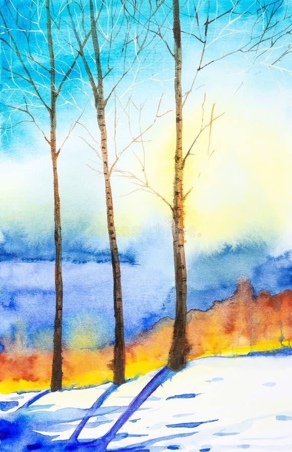 Vinterlandskap av skogen och det sn?ig f?ltet Hand dragen vattenf?rgillustration royaltyfri illustrationer