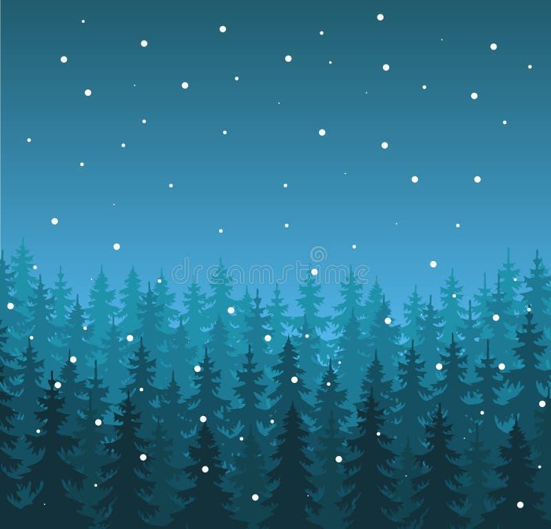 Vinterlandskap i blåa skuggor stock illustrationer