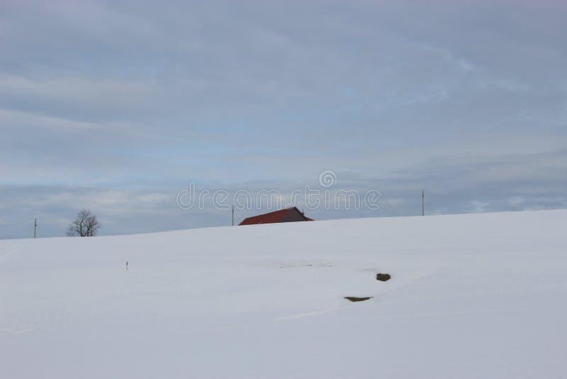 Vinterlandskap i bygden Sn? t?ckte f?ltet, huset och himmel _ royaltyfria foton