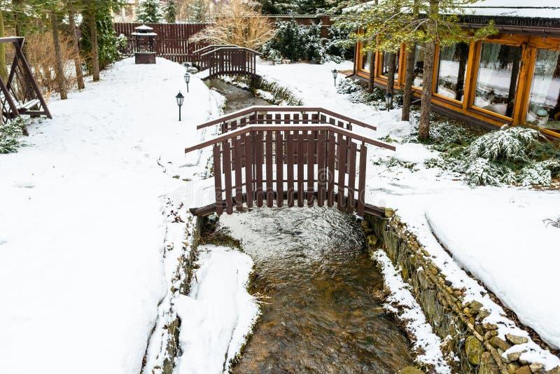 Vinterlandskap i staden, snö täckte synliga två små broar för terräng över en bergström och gröna barrträd royaltyfri fotografi