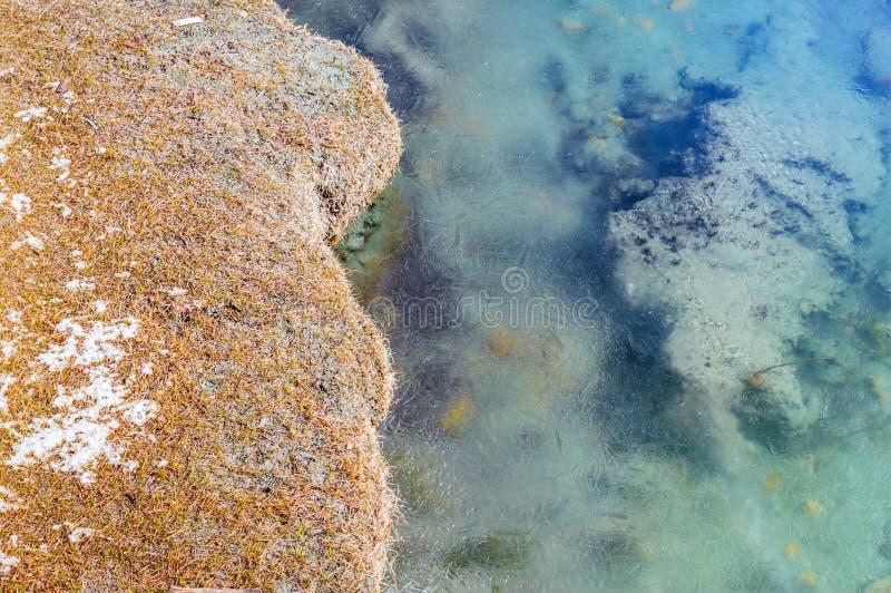 Vinterlandskap med den djupfrysta sjön arkivfoton