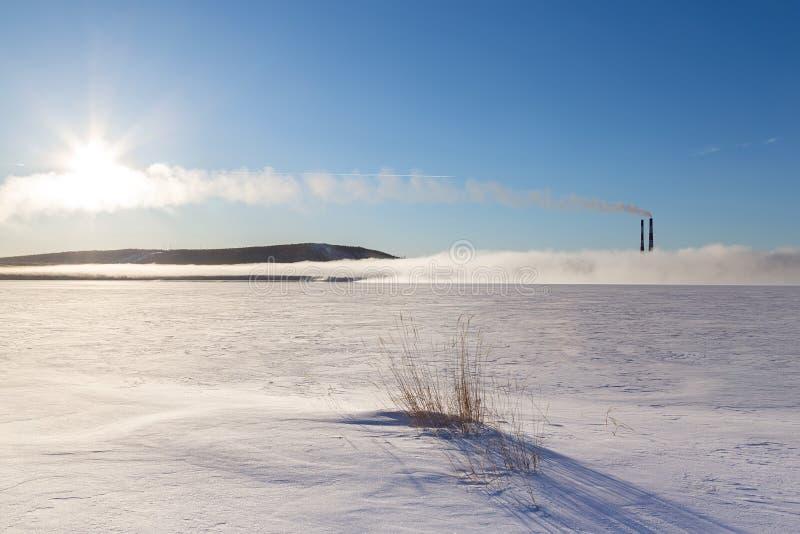 Vinterlandskap med den djupfrysta sjön, dimma och lampglas royaltyfri foto