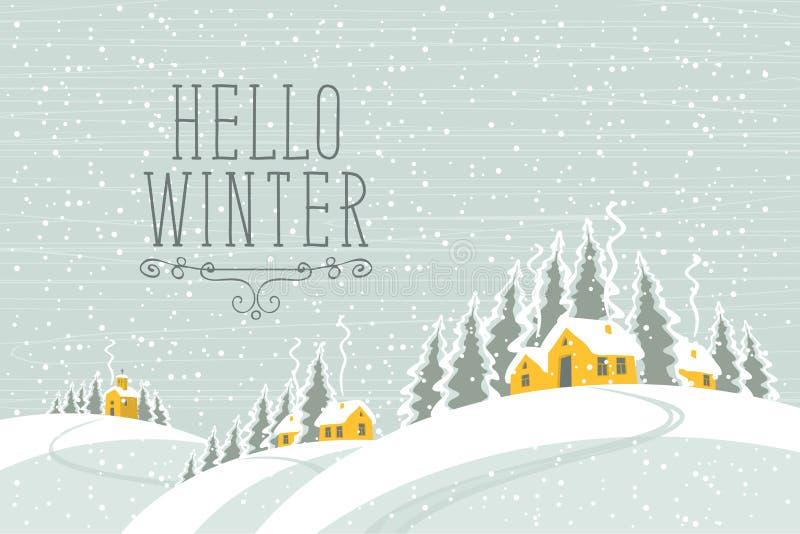 Vinterlandskap med dentäckte byn stock illustrationer
