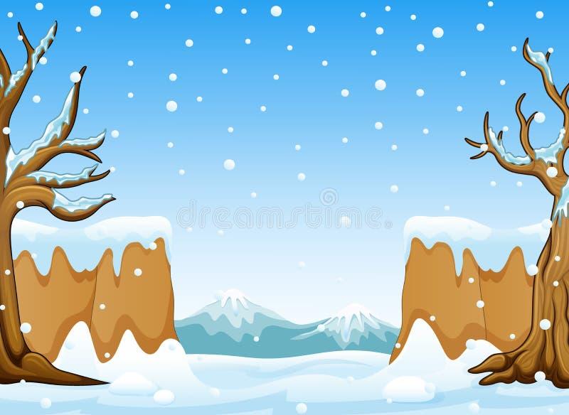 Vinterlandskap med det snökullar och berget stock illustrationer
