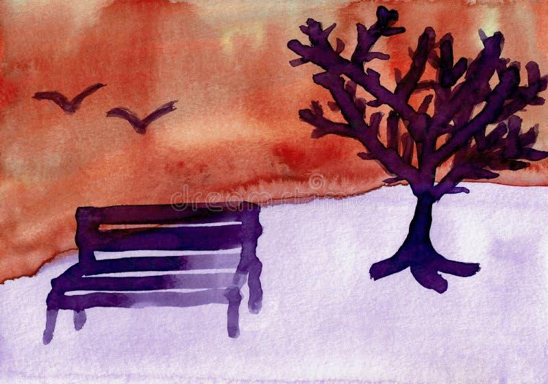 Vinterlandskap med ett träd och en bänk stock illustrationer