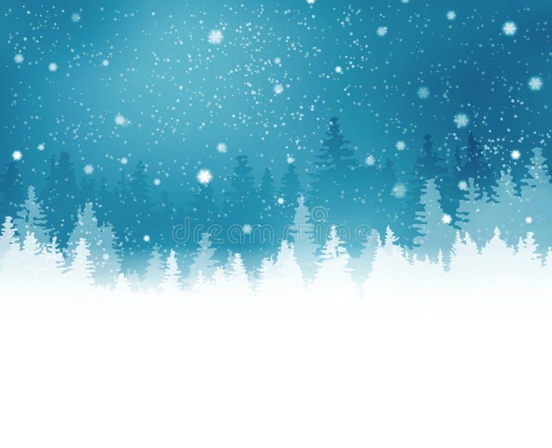 Vinterlandskap med granträd och snöfall vektor illustrationer