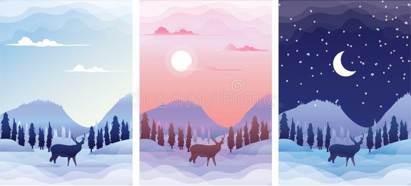 Vinterlandskap med hjortsilhuett vid soluppgång, solnedgång och natt Vektorillustrationer för banderolluppsättningsmall royaltyfri illustrationer