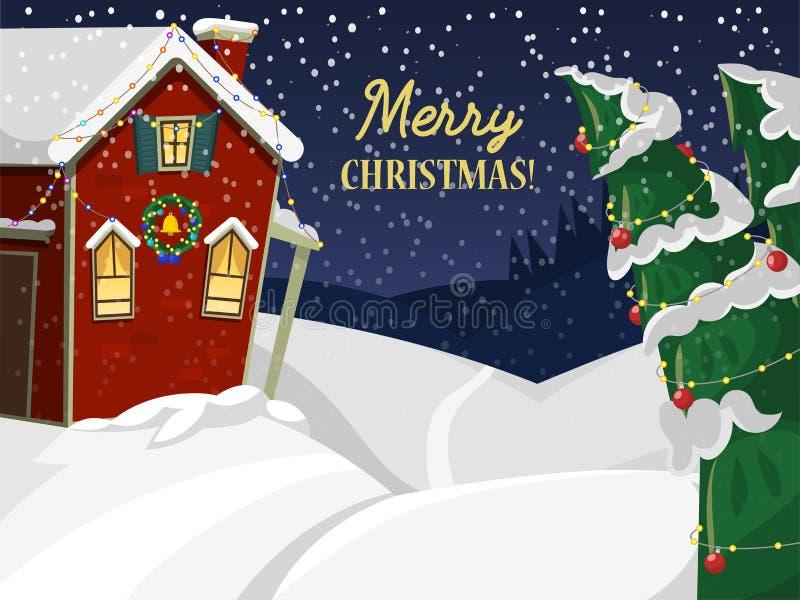 Vinterlandskap med illustrationen för vektor för tapet för natur för julhusgran den berg fryste härliga naturliga stock illustrationer