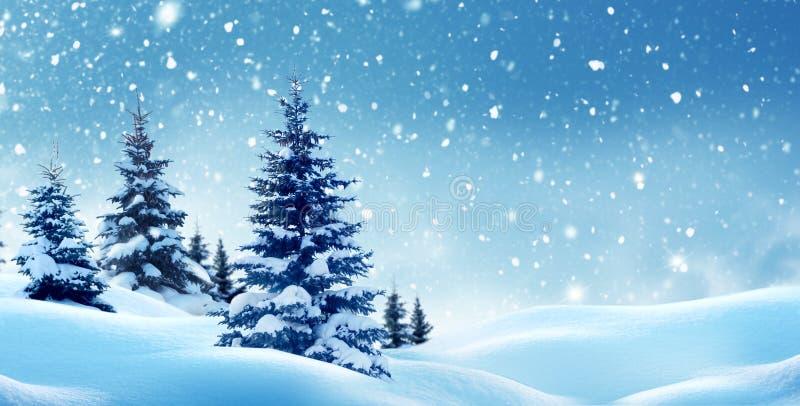 Vinterlandskap med julgranar royaltyfri foto