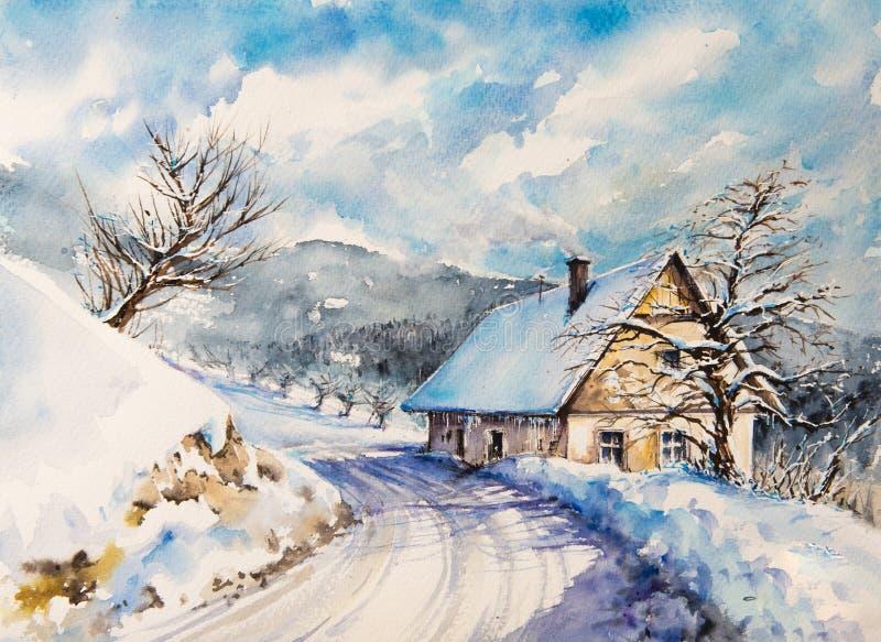 Vinterlandskap med målade husvattenfärger royaltyfri illustrationer