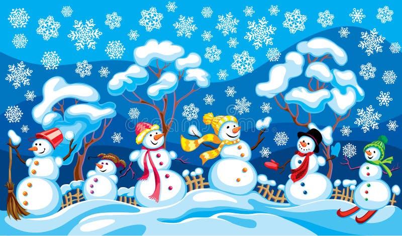 Vinterlandskap med snögubbear royaltyfri illustrationer