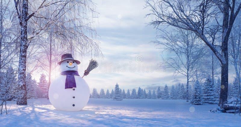 Vinterlandskap med snögubben, julbakgrund arkivfoto