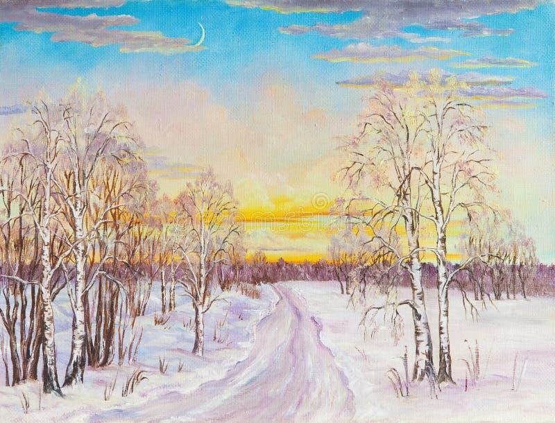Vinterlandskap med väg- och björkträden i snön på en kanfas originell målning för olja stock illustrationer
