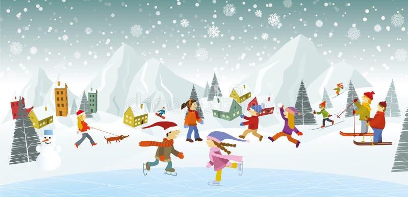 Vinterlandskap och vinteraktiviteter royaltyfri illustrationer