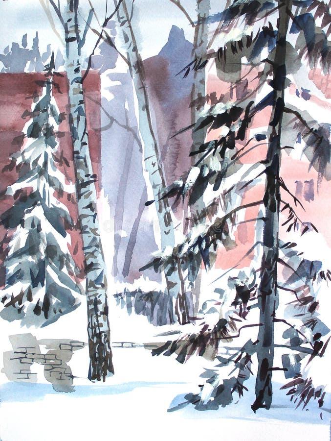 Vinterlandskapet med träd i staden parkerar skissa vattenfärgen illustratören för illustrationen för handen för borstekol gör tec stock illustrationer