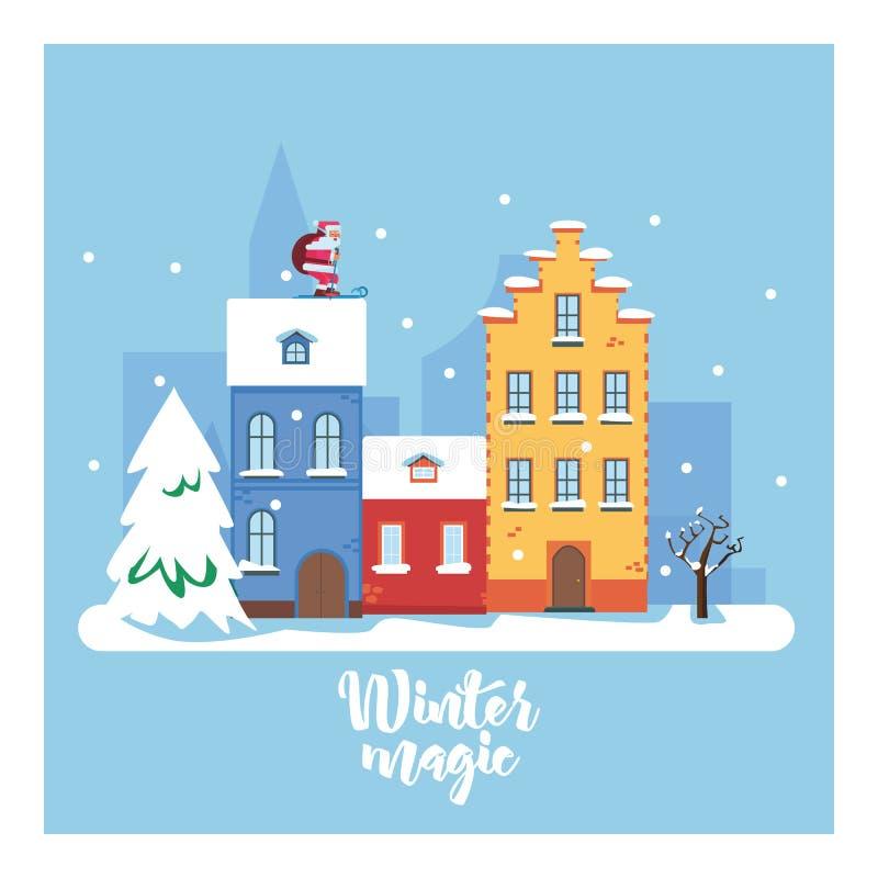 VintermagiCityscape Staden i vinterferier stads- liggande Plan illustration för vektor stock illustrationer