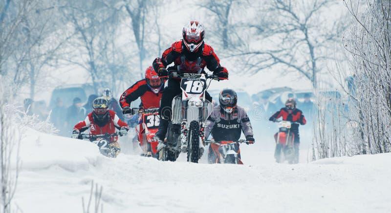 Vintermotocross royaltyfri fotografi