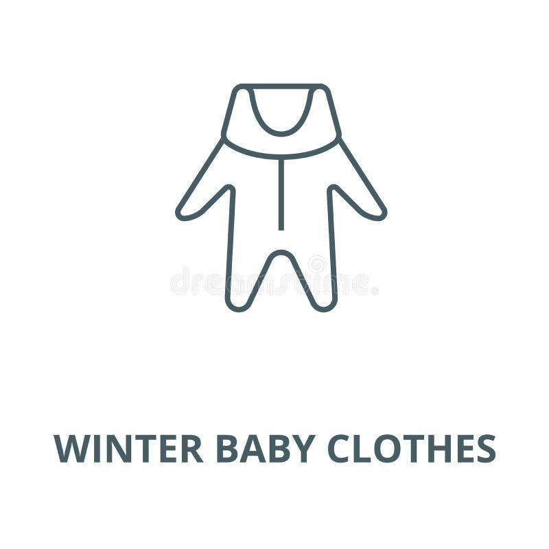 Vintern behandla som ett barn klädervektorlinjen symbolen, det linjära begreppet, översiktstecknet, symbol vektor illustrationer