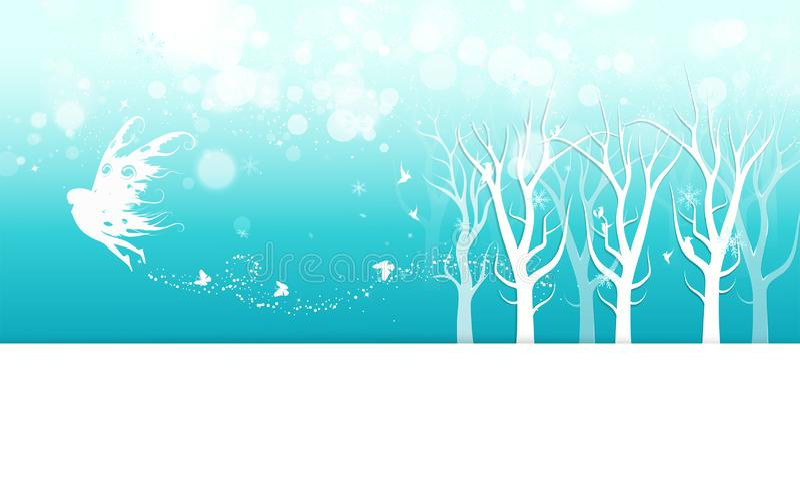 Vintern, den felika fantasin med fjärilsaffischinbjudan, mist, snöflingor och stjärnor sprider banret för gnistrandesemesterperio stock illustrationer