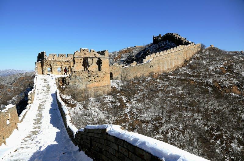 Vintern Jinshanling för stor vägg i Chengde Hebei, Kina royaltyfria bilder