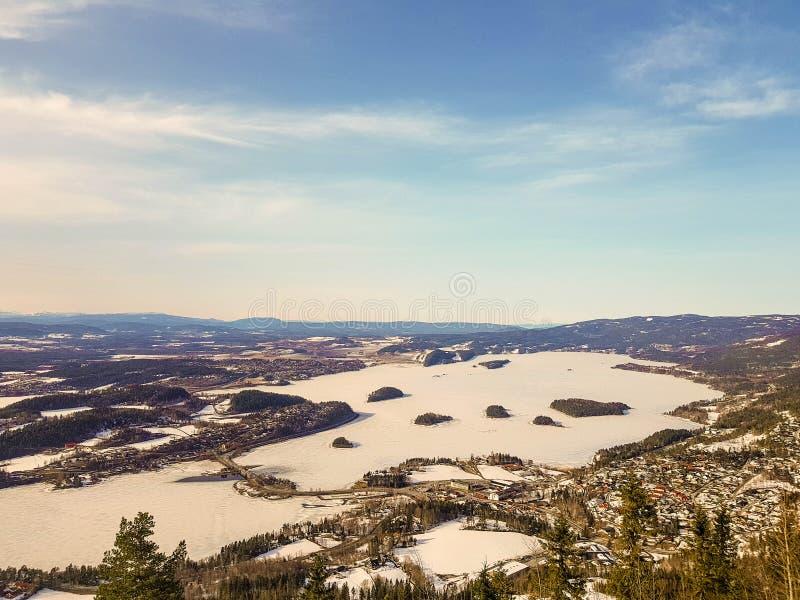 Vintern Kongens Utsikt gör till kung sikten, Norge royaltyfri fotografi