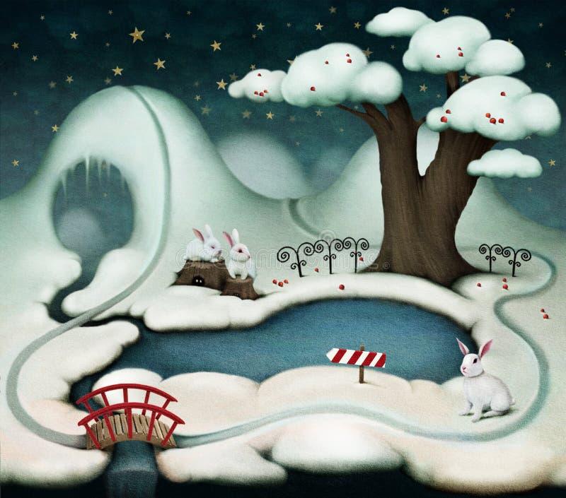 Vintern landskap royaltyfri illustrationer