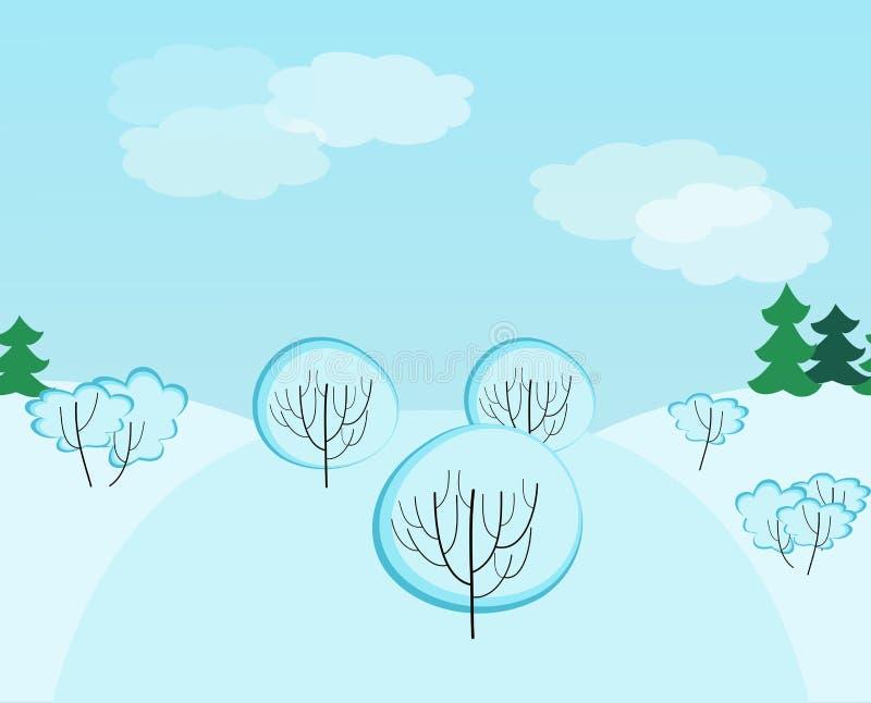 Vintern landskap seamless mönstrar stock illustrationer