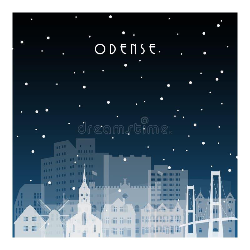 Vinternatt i Odense royaltyfri illustrationer