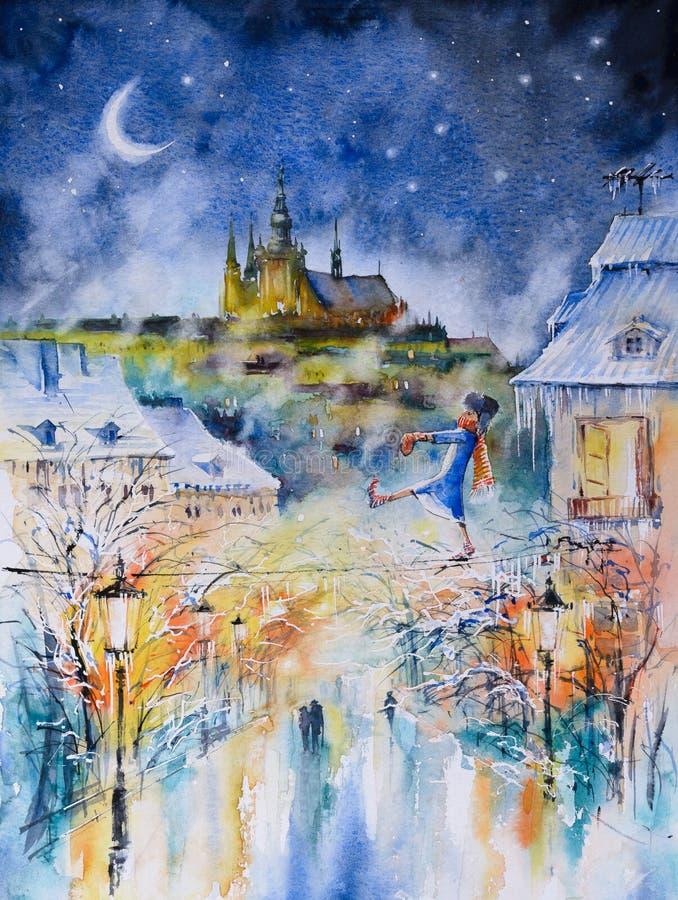 Vinternatt i Prague royaltyfri illustrationer
