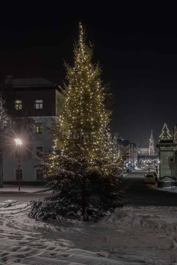 Vinternatt i Regensburg royaltyfria foton