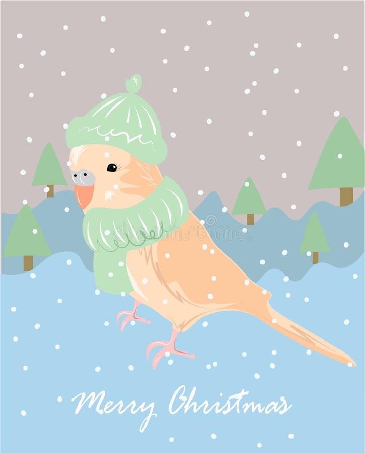 Vinterpaysage med en undulat Gullig affischdesign för glad jul med vektorpapegojan i halsduk vektor illustrationer