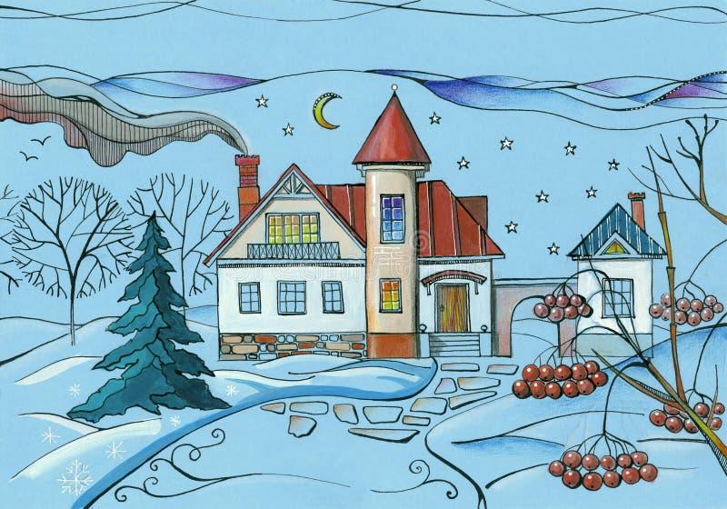 Vinterplats i by Färgrik teckning av huset i snöig trädgård på natten royaltyfri illustrationer
