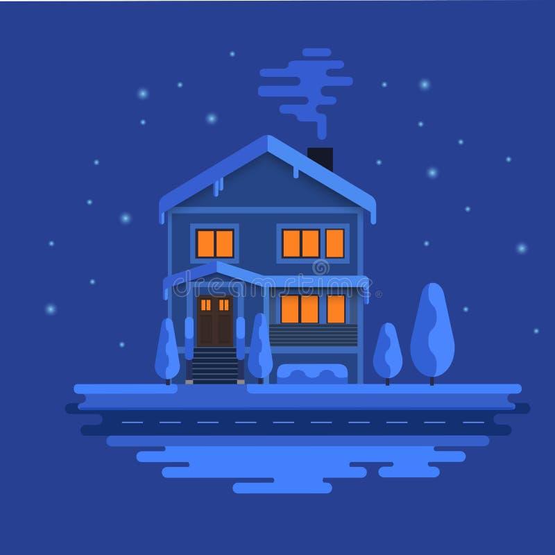 Vinterplats med den europeiska staden på nattetid Härligt hus täckt snö Xmas-begrepp som in göras säsongsbetonat vektor illustrationer