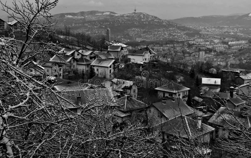 Vinterplats ovanför Sarajevo, Bosnien och Hercegovina royaltyfria foton