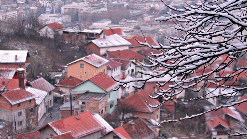Vinterplats ovanför Sarajevo, Bosnien och Hercegovina fotografering för bildbyråer