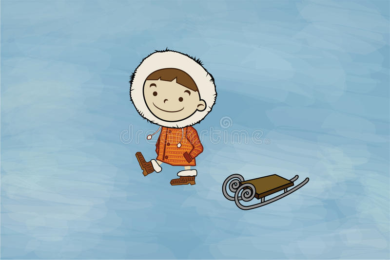 Vinterpojke, släde stock illustrationer