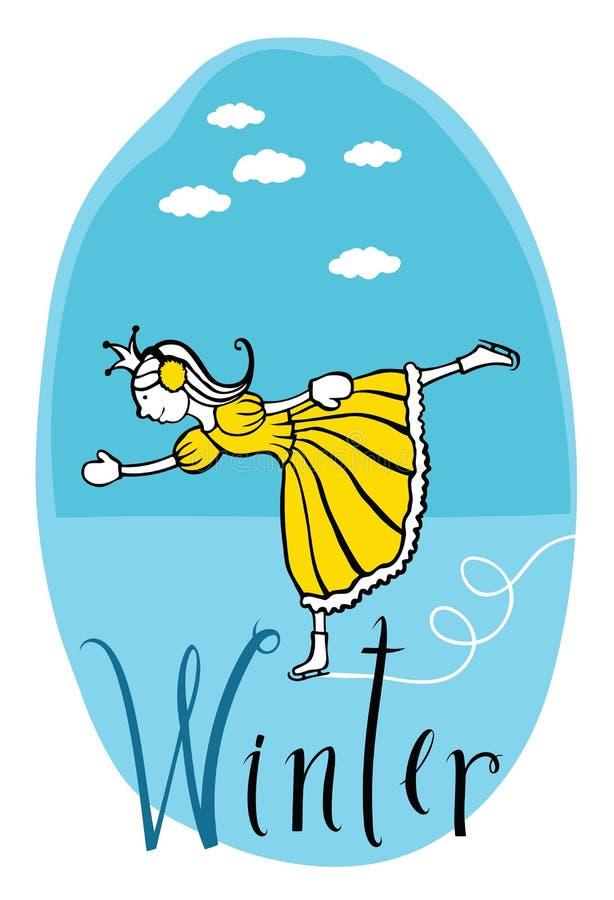 Vinterprinsessa stock illustrationer