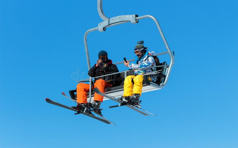Vintersäsong Ski Lift arkivfoto