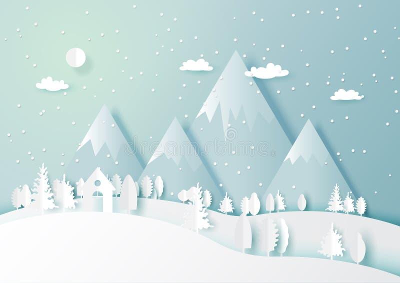 Vintersäsongen med den vita hus- och skognaturen landskap backg stock illustrationer