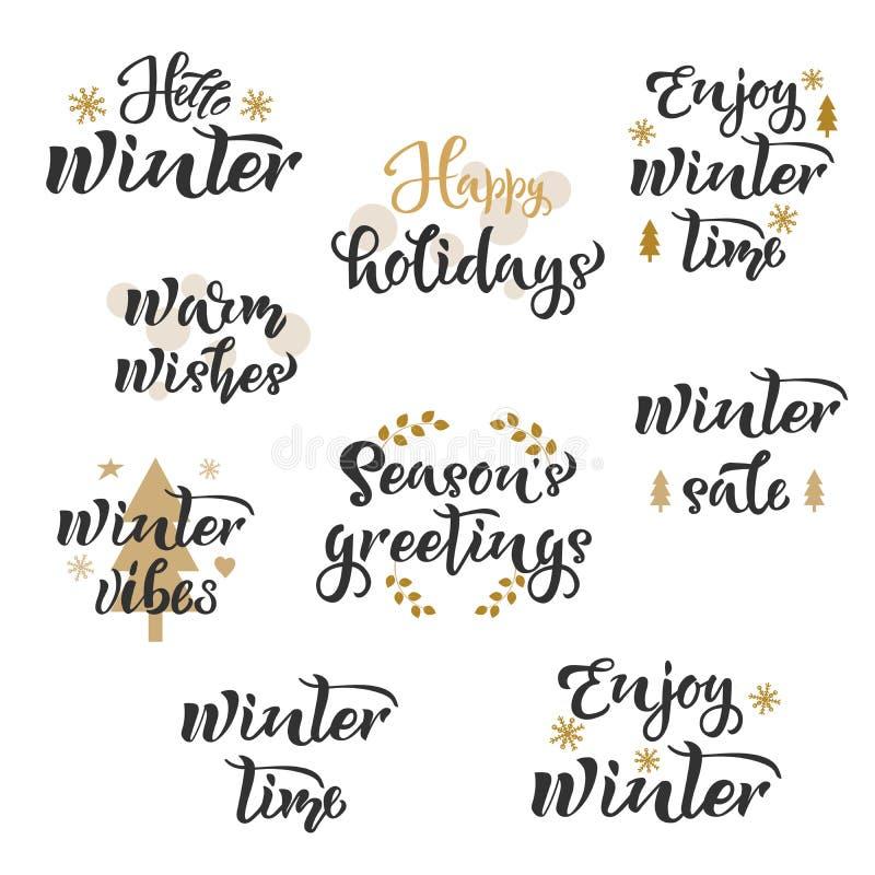 Vintersäsonghälsningar ställde in text Kalligrafi som märker design Typografi för vykort, affischer, baner också vektor för corel stock illustrationer