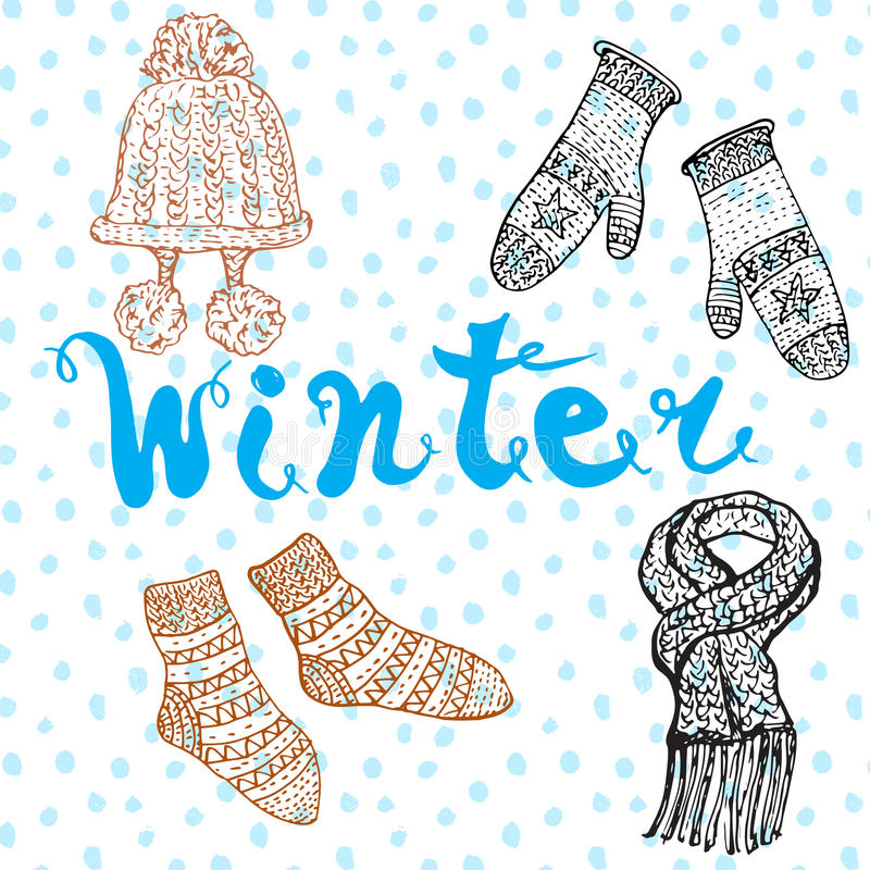Vintersäsonguppsättningen klottrar beståndsdelar Hand dragen uppsättning med varmt kläder, sockor och hatt och bokstäverord vektor illustrationer