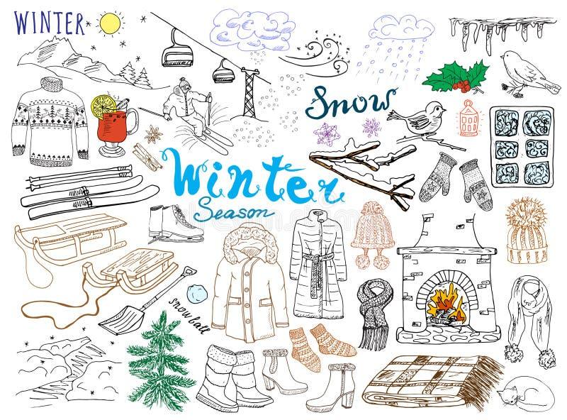 Vintersäsonguppsättningen klottrar beståndsdelar Handen drog uppsättningen med glass varmt vin, kängor, kläder, spisen, berg, ski vektor illustrationer