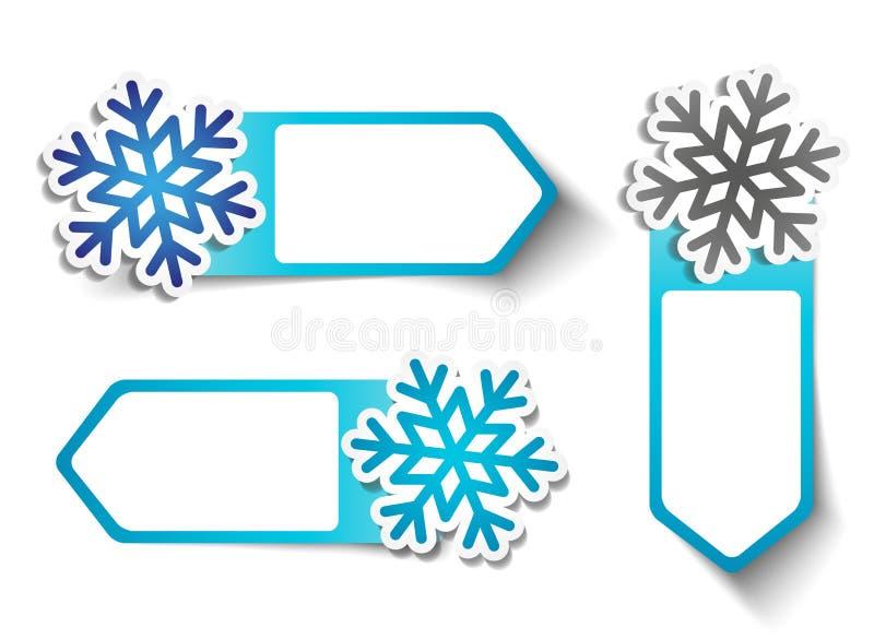 VinterSale klistermärkear - snöflingor vektor illustrationer