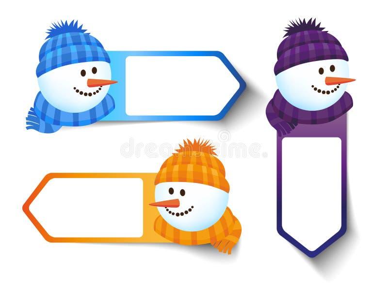 VinterSale klistermärkear - snögubbe stock illustrationer