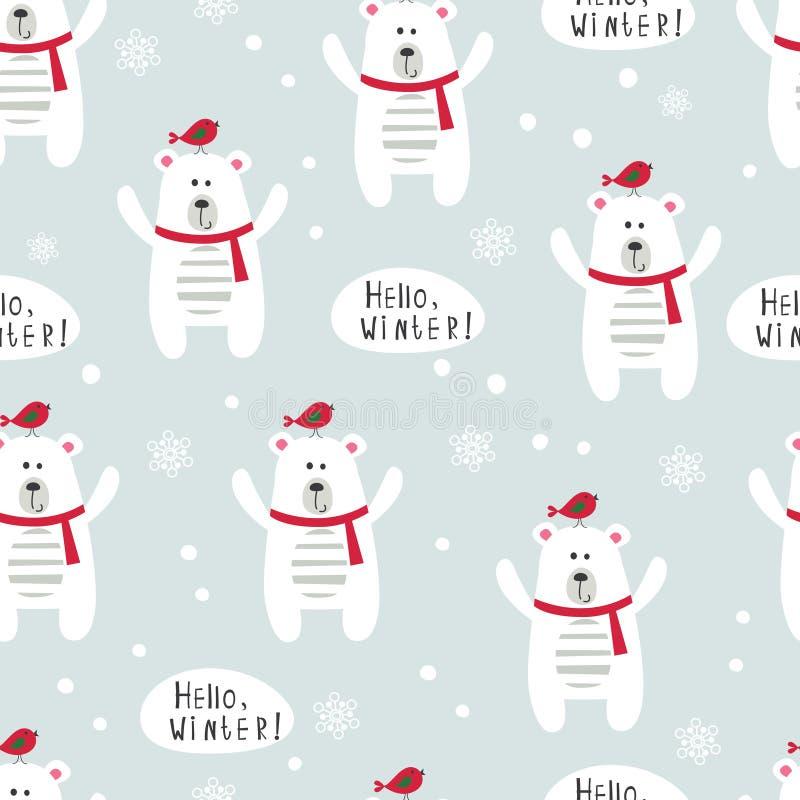 Vinterseamlesmodell med isbjörnar och fåglar stock illustrationer